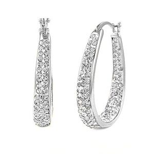 Jewelry - 925 Silver Plated Rhinestone Oval Hoops NWT